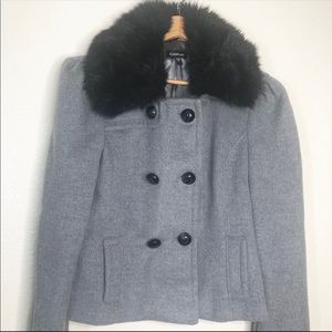 Bebe Gray Wool Double Breasted Cropped Peacoat